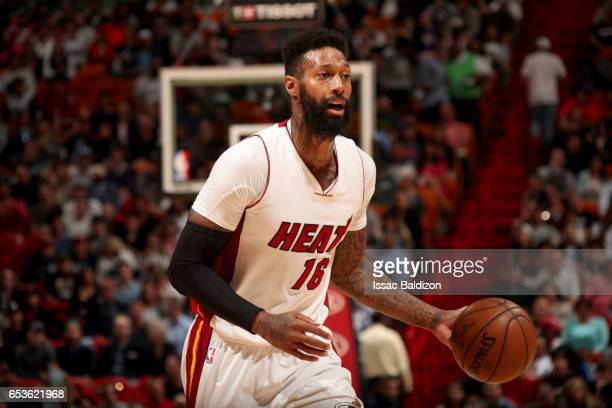 James Johnson of the Miami Heat handles the ball against the New Orleans Pelicans on March 15 2017 at American Airlines Arena in Miami Florida NOTE...