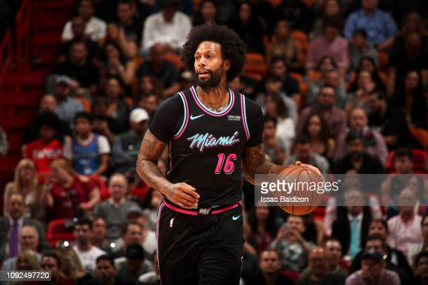James Johnson of the Miami Heat handles the ball against the Oklahoma City Thunder on February 1 2019 at American Airlines Arena in Miami Florida...