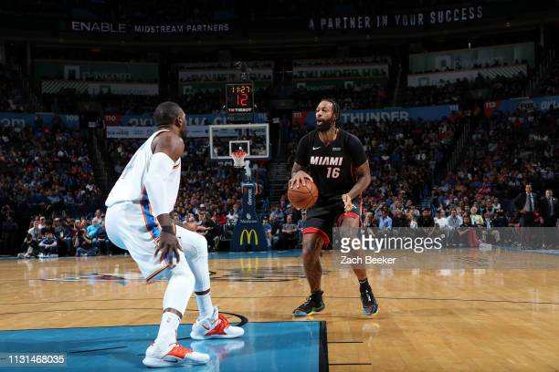 James Johnson of the Miami Heat handles the ball against the Oklahoma City Thunder on March 18 2019 at Chesapeake Energy Arena in Oklahoma City...
