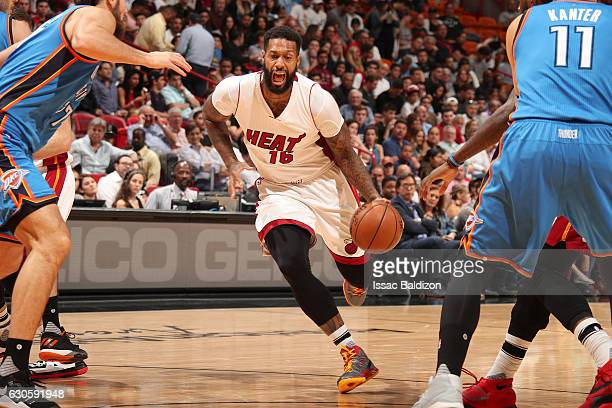 James Johnson of the Miami Heat handles the ball against the Oklahoma City Thunder on December 2016 at American Airlines Arena in Miami Florida NOTE...