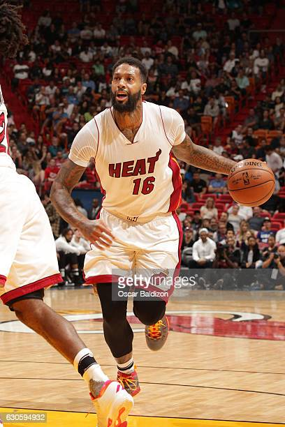 James Johnson of the Miami Heat handles the ball against the Oklahoma City Thunder on December 27 2016 at American Airlines Arena in Miami Florida...