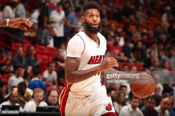 James Johnson of the Miami Heat handles the ball against the Cleveland Cavaliers on April 10 2017 at AmericanAirlines Arena in Miami Florida NOTE TO...