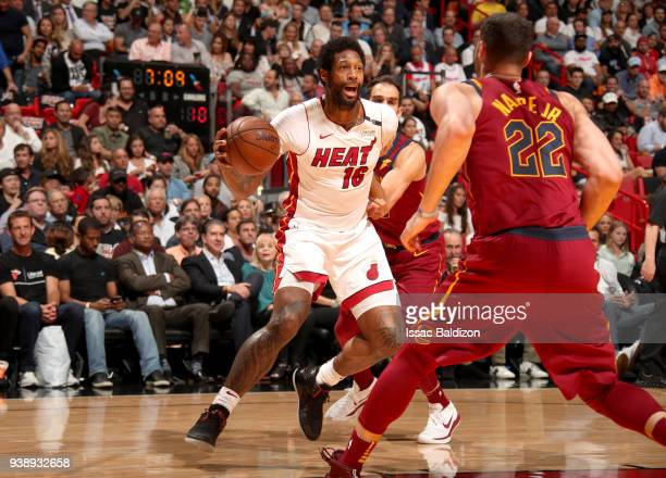 James Johnson of the Miami Heat handles the ball against the Cleveland Cavaliers on March 27 2018 at American Airlines Arena in Miami Florida NOTE TO...