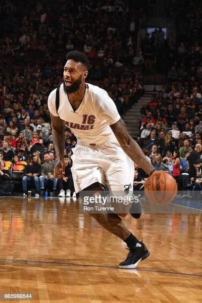 James Johnson of the Miami Heat handles the ball against the Toronto Raptors on April 7 2017 at the Air Canada Centre in Toronto Ontario Canada NOTE...