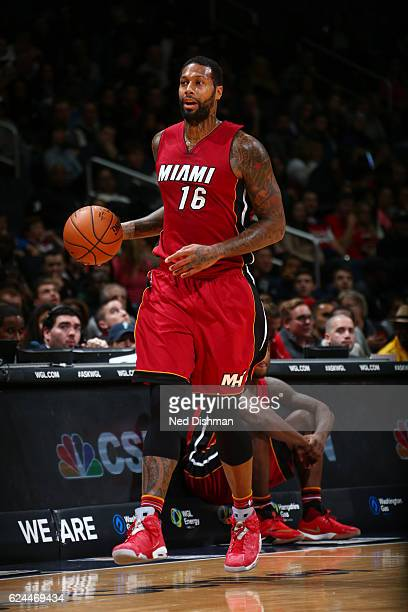 James Johnson of the Miami Heat handles the ball during a game against the Washington Wizards on November 19 2016 at the Verizon Center in Washington...