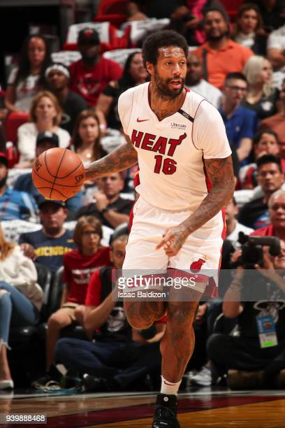 James Johnson of the Miami Heat handles the ball during the game against the Chicago Bulls on March 29 2018 at American Airlines Arena in Miami...