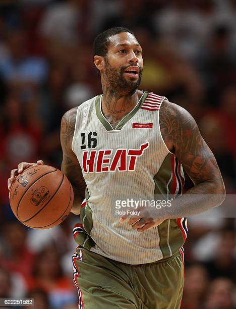 James Johnson of the Miami Heat in action during the second half of the game against the Chicago Bulls at American Airlines Arena on November 10 2016...