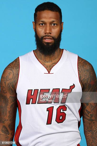 James Johnson of the Miami Heat poses for a head shot during the 20162017 Miami Heat Media Day on September 26 2016 at American Airlines Arena in...