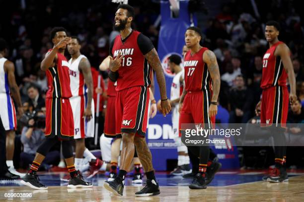 James Johnson of the Miami Heat reacts to a second half play while playing the Detroit Pistons at the Palace of Auburn Hills on March 28 2017 in...