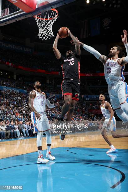 James Johnson of the Miami Heat shoots the ball against the Oklahoma City Thunder on March 18 2019 at Chesapeake Energy Arena in Oklahoma City...