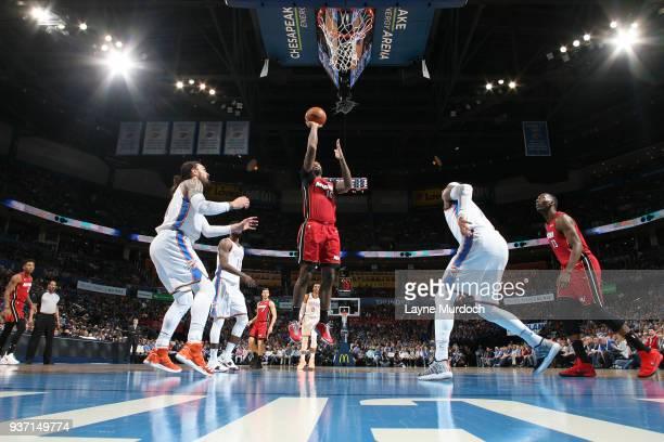 James Johnson of the Miami Heat shoots the ball against the Oklahoma City Thunder on March 23 2018 at Chesapeake Energy Arena in Oklahoma City...