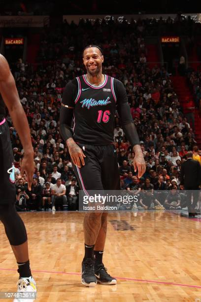 James Johnson of the Miami Heat smiles during a game against the Milwaukee Bucks on December 22 2018 at American Airlines Arena in Miami Florida NOTE...