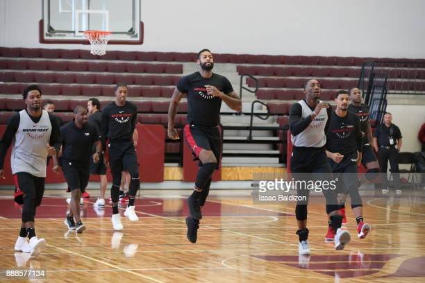 James Johnson of the Miami Heat warms up during practice as part of the NBA Mexico Games 2017 on December 8 2017 at the American School in Mexico...