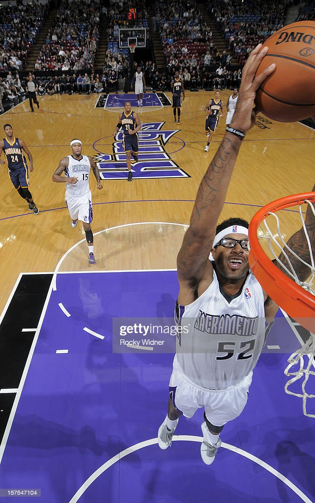 James Johnson #52 of the Sacramento Kings goes up for the dunk against the Indiana Pacers on November 30, 2012 at Sleep Train Arena in Sacramento, California.