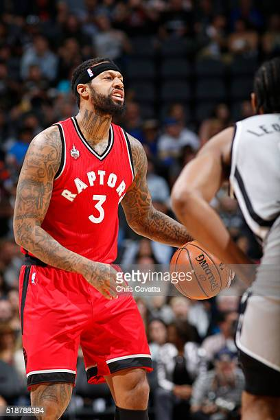 James Johnson of the Toronto Raptors calls out a play against the San Antonio Spurs during the game on April 2 2016 at ATT Center in San Antonio...