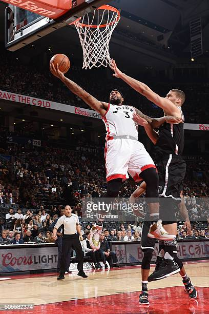 James Johnson of the Toronto Raptors goes for the layup during the game against the Brooklyn Nets on January 18 2016 at the Air Canada Centre in...