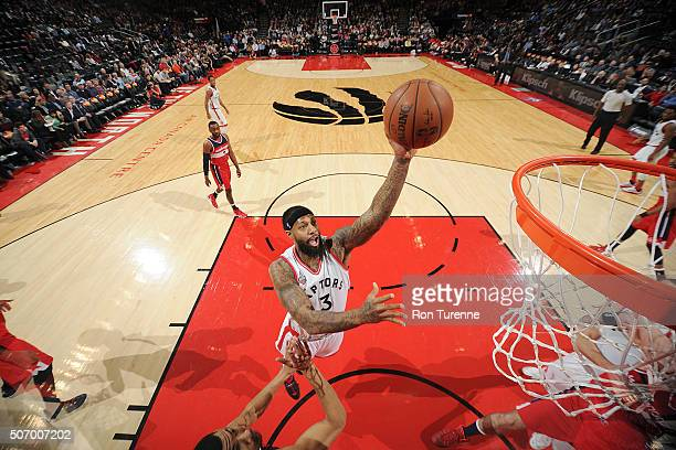 James Johnson of the Toronto Raptors shoots the ball against the Washington Wizards on January 26 2016 at the Air Canada Centre in Toronto Ontario...