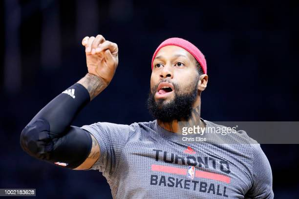 James Johnson of the Toronto Raptors warms up before the game against the LA Clippers on November 22 2015 at the STAPLES Center in Los Angeles...
