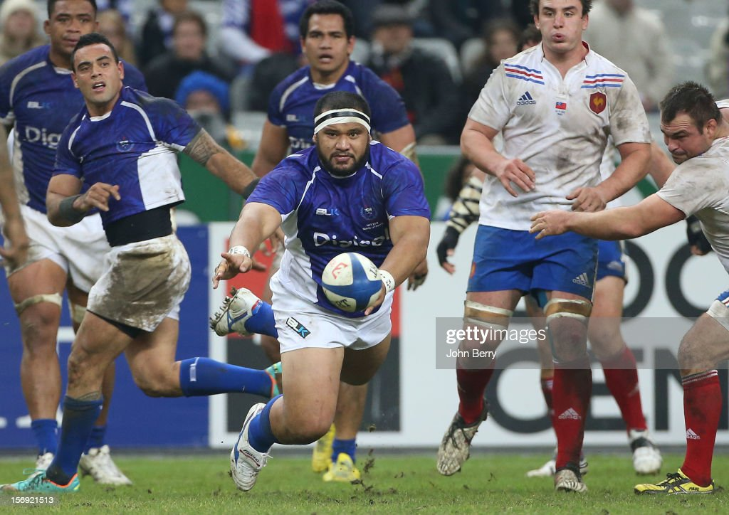 James Johnston of Samoa in action during the Rugby Autumn International between France and Samoa at the Stade de France on November 24, 2012 in Paris, France.