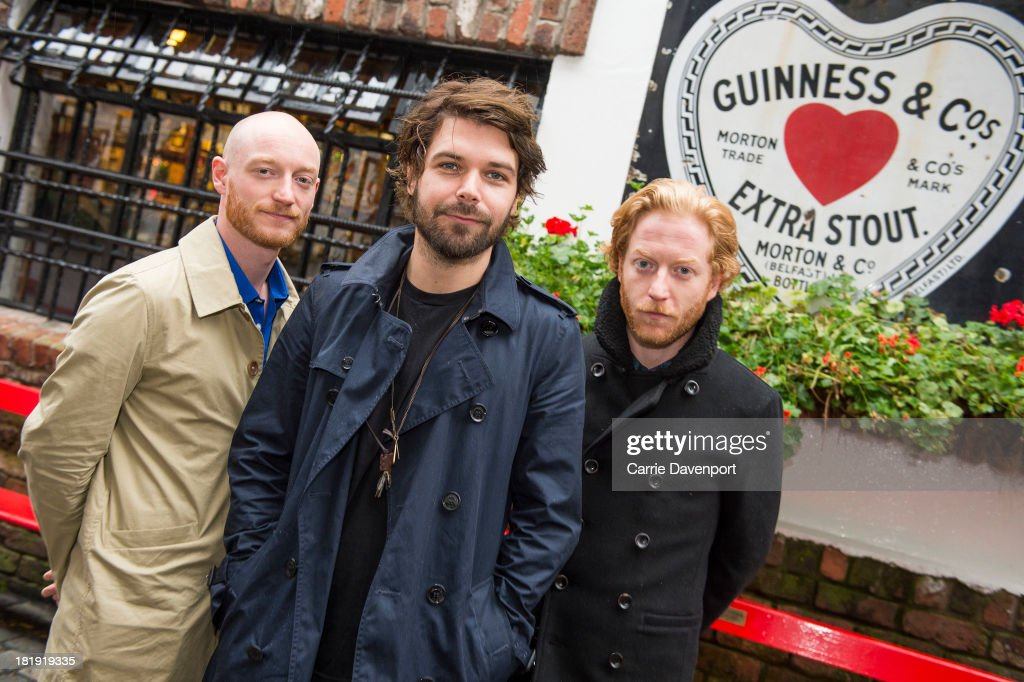 James Johnston, Simon Neil and Ben Johnston of Biffy Clyro at the Duke of York pub, ahead of the fifth annual Arthur's Day celebrations on September 26, 2013 in Belfast, United Kingdom. Arthur's Day sees fans come together to experience live music and cultural events in over 500 pubs around Ireland. This year Arthur's Day will spread beyond music to support, promote and showcase Ireland's innovators, artists, poets, writers and culinary experts. It promises to be an extraordinary night, featuring performances from hundreds of home grown acts, rising stars and other internationally renowned artists such as, The Script, James Vincent McMorrow, The Original Rudeboys, Girl Band, Bouts, Le Galaxie, Ham Sandwich, Daley, Manic Street Preachers, Emeli Sande, Janelle Monae, Biffy Clyro, Kodaline, Iggy Azalea and the legendary Bobby Womack. For more information visit www.guinness.com or www.facebook.com/Guinnessireland