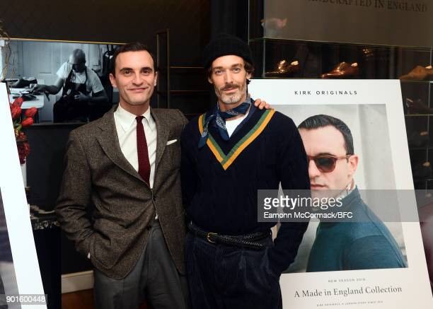 James Jonathan Turner and Richard Biedul attend the Kirk Originals present a Made In England Collection during London Fashion Week Men's January 2018...