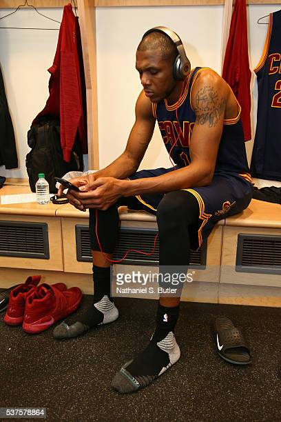 James Jones of the Cleveland Cavaliers listens to music before Game Six of the NBA Eastern Conference Finals against the Toronto Raptors at Air...