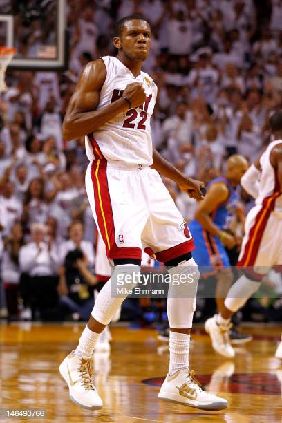 James Jones of the Miami Heat reacts after he made a 3point basket in the second half against the Oklahoma City Thunder in Game Three of the 2012 NBA...