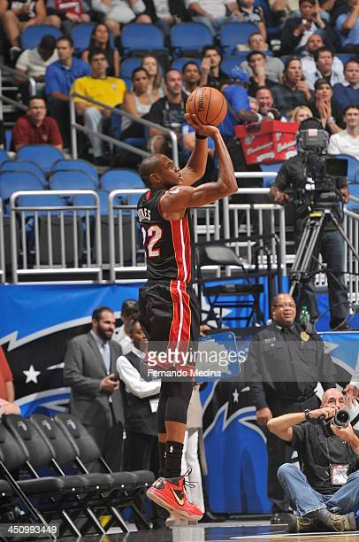 James Jones of the Miami Heat shoots a three pointer against the Orlando Magic during the game on November 20 2013 at Amway Center in Orlando Florida...