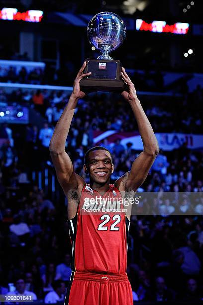 James Jones of the Miami Heat wins the Foot Locker Three-Point Contest apart of NBA All-Star Saturday Night at Staples Center on February 19, 2011 in...