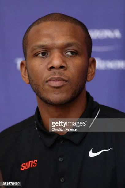 James Jones of the Pheonix Suns attends a press conference at Talking Stick Resort Arena on June 22 2018 in Phoenix Arizona NOTE TO USER User...