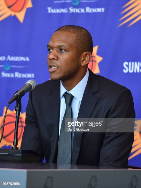 James Jones of the Phoenix Suns talks to the media during the announcement of Igor Kokoskov as the new head coach at a press conference on May 14 at...