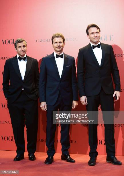 James Jouning Mateo Gabba y Wolfgang Blau attend Vogue 30th Anniversary Party at Casa Velazquez on July 12 2018 in Madrid Spain