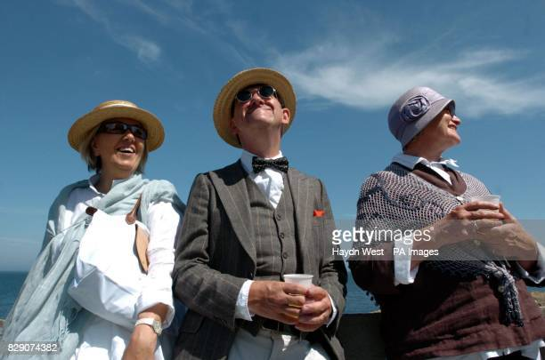 James Joyce enthusiasts and Dubliners Betty Cremin Danny Skehan and unidentified woman at Sandycove opposite where the 'Ulysses' character Leopold...