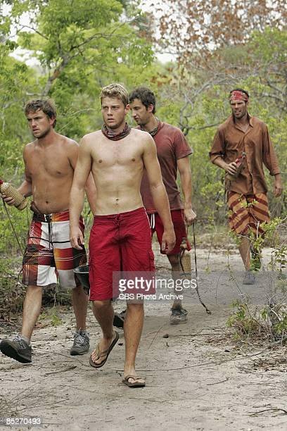James 'JT' Thomas Jr Spencer Duhm Stephen Fishbach and Joe Dowdle of the Jalapao tribe during the third episode of SURVIVOR TOCANTINS THE BRAZILIAN...
