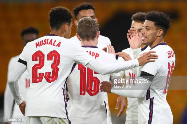James Justin of England celebrates his goal with Jamal Musiala during the UEFA Euro Under 21 Qualifier match between England U21 and Albania U21 at...
