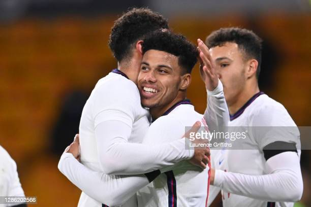 James Justin of England celebrates with teammate Ben Godfrey of England after scoring their team's second goal during the UEFA Euro Under 21...