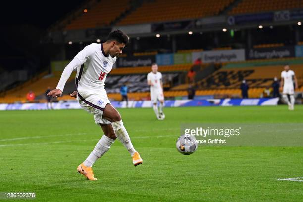 James Justin of England scores their team's second goal during the UEFA Euro Under 21 Qualifier match between England U21 and Albania U21 at Molineux...
