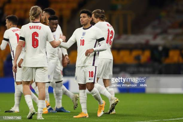 James Justin of England u21 celebrates after scoring a goal to make it 2-0 with Tom Davies during the UEFA Euro Under 21 Qualifier match between...