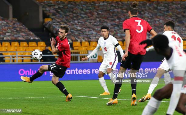 James Justin of England U21 scores their second goal during the UEFA Euro Under 21 Qualifier match between England U21 and Albania U21 at Molineux on...