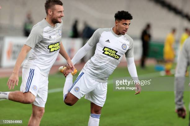 James Justin of Leicester City and Jamie Vardy of Leicester City warm up ahead of the UEFA Europa League Group G stage match between AEK Athens and...