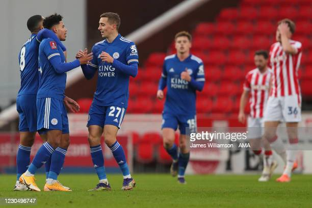 James Justin of Leicester City celebrates after scoring a goal to make it 0-1 with Youri Tielemans and Timothy Castagne during the FA Cup Third Round...
