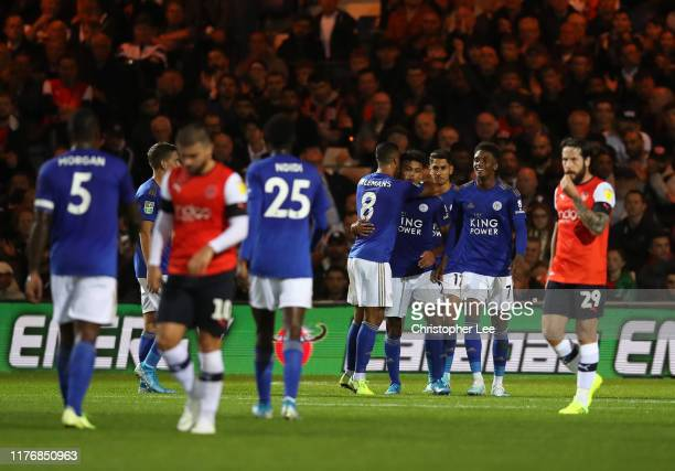 James Justin of Leicester City celebrates after scoring his sides second goal during the Carabao Cup Third Round match between Luton Town and...