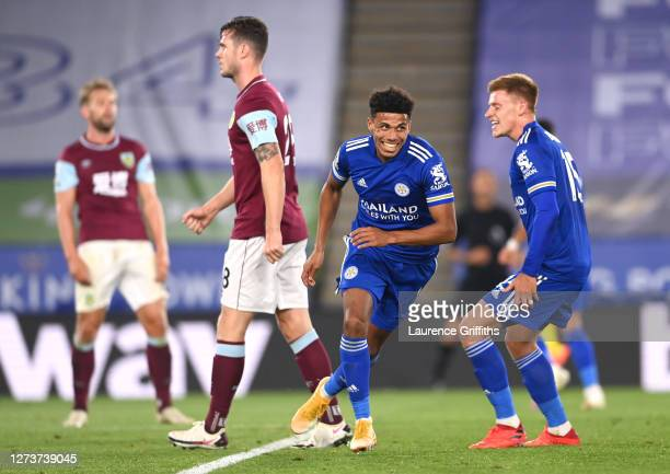 James Justin of Leicester City celebrates after scoring his team's third goal during the Premier League match between Leicester City and Burnley at...