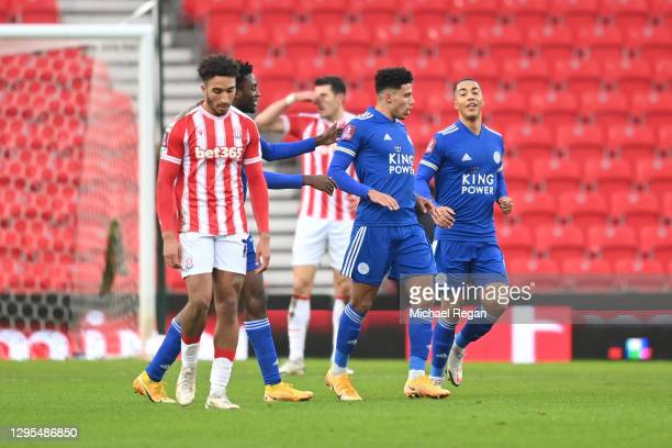 James Justin of Leicester City celebrates after scoring his team's first goal during the FA Cup Third Round match between Stoke City and Leicester...