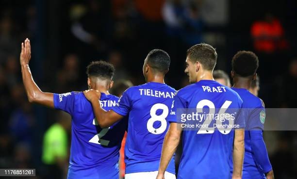 James Justin of Leicester City celebrates scoring his teams second goal during the Carabao Cup Third Round match between Luton Town and Leicester...