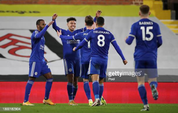James Justin of Leicester City celebrates with Ricardo Pereira, James Maddison and Youri Tielemans after scoring his team's second goal during the...