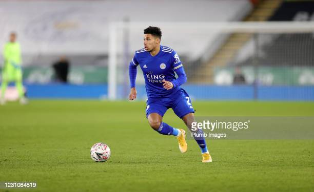 James Justin of Leicester City during The Emirates FA Cup Fifth Round match between Leicester City and Brighton & Hove Albion at The King Power...