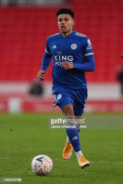 James Justin of Leicester City during the FA Cup Third Round match between Stoke City and Leicester City at Bet365 Stadium on January 9, 2021 in...