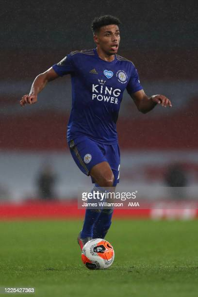 James Justin of Leicester City during the Premier League match between Arsenal FC and Leicester City at Emirates Stadium on July 7 2020 in London...