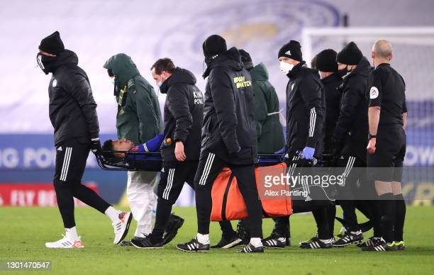 James Justin of Leicester City is stretchered off during The Emirates FA Cup Fifth Round match between Leicester City and Brighton And Hove Albion at...